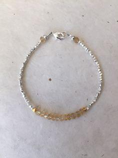 Sundance style citrine Karen Hill Tribe Thai silver beaded bracelet