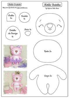 Ursinhos de feltro com molde para imprimir Baixar moldes de ursinhos para fazer lindas lembrancinhas, chaveiros e decoração em feltro. Felt Doll Patterns, Felt Animal Patterns, Felt Crafts Patterns, Felt Crafts Diy, Felt Diy, Stuffed Animal Patterns, Bear Felt, Sewing Dolls, Felt Dolls