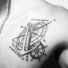 Images of nautical anchor tattoo designs - Cordinates Tattoo, Form Tattoo, Leo Tattoos, Shape Tattoo, Friend Tattoos, Tatoos, Back Tattoo Women, Sleeve Tattoos For Women, Anchor Tattoo Men