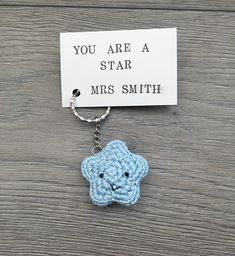 Cute handmade crochet you are a star keyring personalised teacher gift £6.50