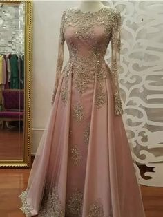 0aa080a550c 2018 A-line Prom Dresses Scoop Long Sleeve Pink Applique Long Prom Dress  Evening Dresses AMY444