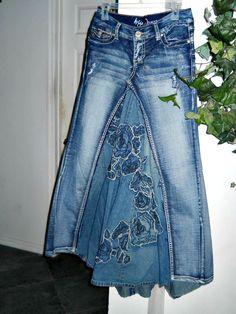 Rose denim jean skirt upcycled boho by bohemienneivy on Etsy