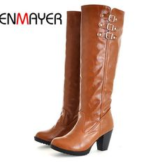 56.22$  Watch here - http://alixqz.worldwells.pw/go.php?t=32491918500 - ENMAYER Black Brown Beige Yellow Knight Boots For Women New Hot Round Toe Square heel High Boots Spring Autumn Knee-High Boots 56.22$
