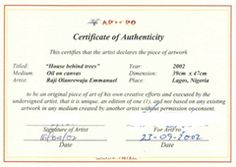 Image result for sample certificate of authenticity for artwork ...