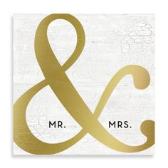 """Mr. & Mrs."" Golden Ampersand 16-Inch x 16-Inch Canvas Wall Art - BedBathandBeyond.com"