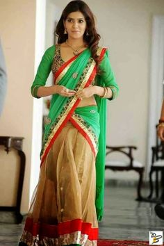 South Indian Actress Samantha in Green and Beige Half Saree Samantha In Saree, Samantha Ruth, Samantha Images, Babe, Green Saree, Images Wallpaper, Nice Wallpapers, Dress Hairstyles, Fashion Designer
