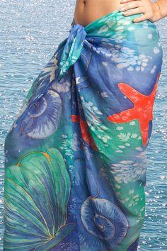 Elegant  Hand Painted Silk  Cotton  Beach Sarong  by LigaKandele
