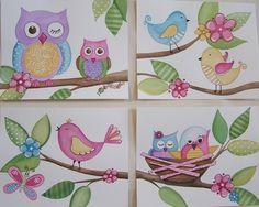 Owls birds wall art baby nursery kids line set four 8x10 prints. $20.00, via Etsy.