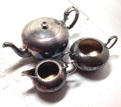 Vintage Heart Teapot Set Silver Plated  by boomerville on Etsy