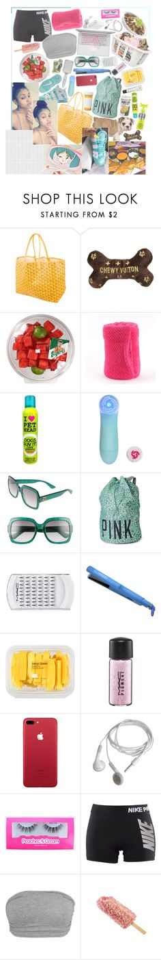 """""""¿blooop?"""" by boogiedwnbronx ❤ liked on Polyvore featuring Goyard, Conair, Gucci, Victoria's Secret PINK, MAC Cosmetics, José Eber, MANGO, M.A.C and NIKE"""