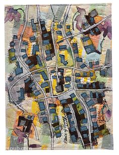 Art Quilt Maps,,,I would like to do an aerial view of the neighborhood from childhood. or favorite areas maybe use Google Maps. Awesome ideas for Gifts.