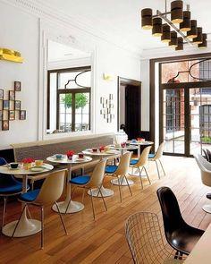 Sala de comedor en el hotel Vintage de Bruselas