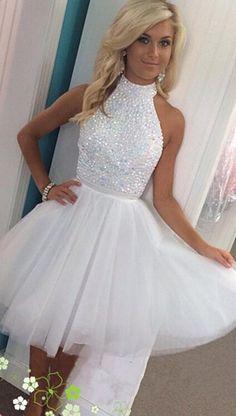 2017 homecoming dress, short homecoming dress, white homecoming dress, high neck homecoming dress with open back, party dress