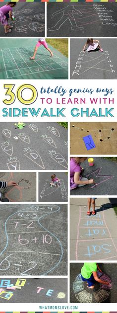 Sidewalk Chalk Learning Activities for kids | Summer slide prevention and boredom busters with fun games for reading, math, letters, numbers, sight words, science and more! | Best outdoor activities for kids of all ages - toddler, preschool, grade school, boys and girls. Perfect list to turn to when schools out!