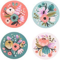 Rifle Paper Floral Coaster Set, Set of 8