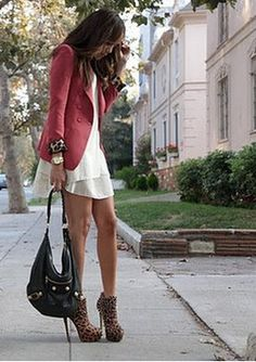 Not crazy about the cheeta , but love the blazer with dress and heels !