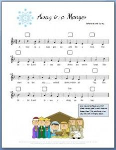 Away in a Manger Piano Sheet Music and Video Tutorial. Use this free sheet to teach kids how to use chords. Video tutorial explains everything.