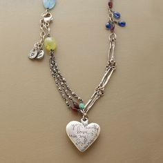 "HEART OF WINTER NECKLACE�--�Love's warmth keeps us all aglow, even in the depth of winter. Share the warmth with�this heartfelt Jes MaHarry heart pendant necklace. It charms with blue aqua, chrysophrase, green and red garnets and bits of blue kyanite. Handmade in USA. Exclusive. Approx. 26""L."