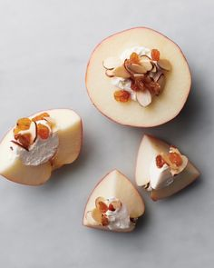 Smart protein-rich after school snack: Sweeten cream cheese with a little honey, spread on half an apple,sprinkle with toasted sliced almonds and (optional) golden raisins.