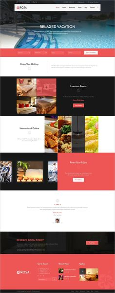 Rosa is a wonderful premium #Photoshop template for #hotel reservation and #restaurant websites download now➩ https://themeforest.net/item/rosa-hotel-reservation-restaurant-psd-template/19253392?ref=Datasata