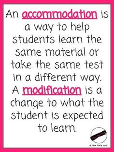 Accommodations vs Modifications FREEBIE Poster Reminder – Inclusive education Posters and Art Prints for Free Teaching Special Education, Student Learning, Kids Education, Physical Education, Continuing Education, Teacher Tools, Teacher Resources, Inclusive Education, School Psychology