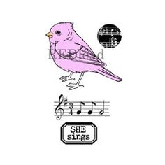 *Bird Rubber Stamps - She Sings - 4 cling mount stamps