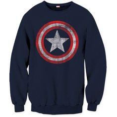 Marvel Men's Captain America Distressed Shield Crew Neck Sweatshirt - http://bandshirts.org/product/marvel-mens-captain-america-distressed-shield-crew-neck-sweatshirt/