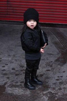 black on black ,this kid has style beanie bomber jacket boots love this. streetstyle fashion kids kid