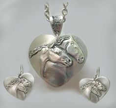 Horse Heart Pendant & Earring set by HorseLadyGifts on Etsy