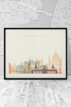 Budapest skyline Art print Printable poster Art by ArtFilesVicky Free Prints, Wall Prints, Poster Prints, Art Print, Poster Wall, Print Design, Travel Gallery Wall, Skyline Art, Typography Art