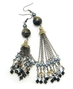 Tassels Drop Earrings with Assorted Charm Details
