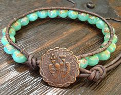 Double Strand Turquoise Knotted Leather by TwoSilverSisters