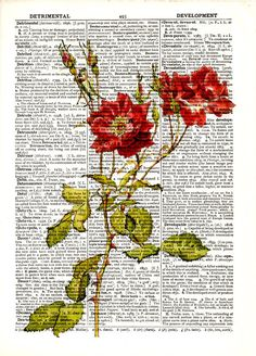 """Dictionary Art Print,Vintage poster,Digital Prints,Pop art,Home & Living,Gift Ideas,Office Kitchen wall decor,mixed media,""""Red Roses""""flower"""
