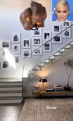 Gallery wall with black and white pictures, from Kylie Jenner