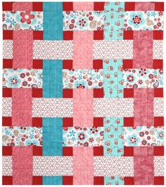 Baby Quilt, Riley Blake, Twice as Nice Fabric, Pink, Red, Aqua, White by sassystitchinsisters on Etsy https://www.etsy.com/listing/185024314/baby-quilt-riley-blake-twice-as-nice