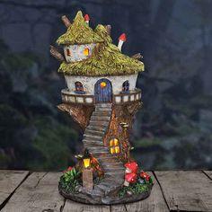 Fairy Homes and Gardens - Solar Round Fairy Tree House, $42.99 (https://www.fairyhomesandgardens.com/solar-round-fairy-tree-house/) #LandscapeHome