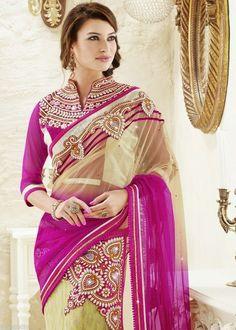 Pink Cream Bridal Lehenga Saree Stone Butta Patch Net Silk Jacquard Sari #SareeStudio