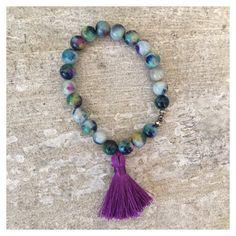 Beaded bracelet with purple silk tassel by LindsayRaeDesigns