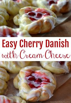 Easy Cherry Danishes with Cream Cheese Easy Cherry Danish with Cream Cheese – Kitchen Fun With My 3 Sons Easy Cherry Danish Recipe, Strawberry Danish Recipe, Danish Dessert, Danish Food, Breakfast Cake, Breakfast Recipes, Dessert Recipes, Sweet Breakfast, Breakfast Dishes