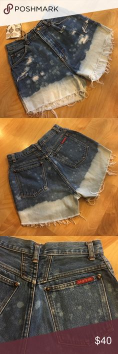 VINTAGE Cristina's high waisted distressed shorts Gorgeous handcrafted (by me) denim high waisted shorts! Original brand: Cristina's, Levi's for exposure. Levi's Shorts Jean Shorts