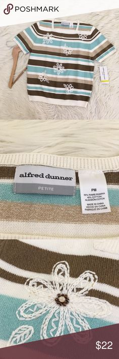 """NWT Alfred Dunner Floral Embroidered Sweater Alfred Dunner Women's Size Petite Medium Short Sleeved knit top/sweater. Blue, brown, tan and cream Striped with embroidered flowers. Has shoulder pads. New with tags, no flaws.   Length : 22"""" Armpit to armpit: 19""""  📌NO lowball offers 📌NO modeling 📌NO trades  Please check out the rest of my closet, I have various brands and ALL different sizes. Some new with tags, others in excellent condition😊 Alfred Dunner Sweaters"""