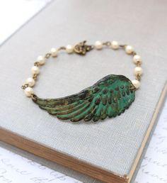 Wing Bracelet Verdigris Patina Wing Ivory