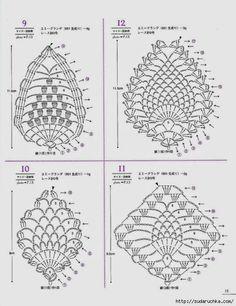 Asahi Original Lacework Pineapple Pattern By Crowe Berry - Issuu Crochet Crochet Earrings Pattern, Crochet Motif Patterns, Crochet Diagram, Crochet Chart, Crochet Squares, Crochet Ideas, Crochet Books, Thread Crochet, Crochet Doilies