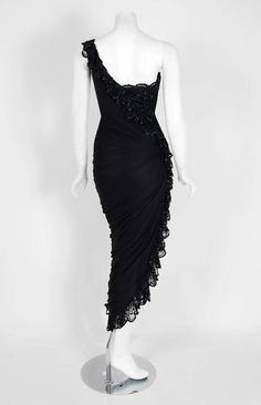 1970's Loris Azzaro Couture Black Sequin Lace & Chiffon One-Shoulder Dress  5