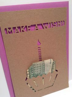 Paper cut-out birthday card. One-sided flat stationery. Fold money as a cupcake for a fun gift (money not included.) Includes colorful envelope. If you have a color preference please let me know.