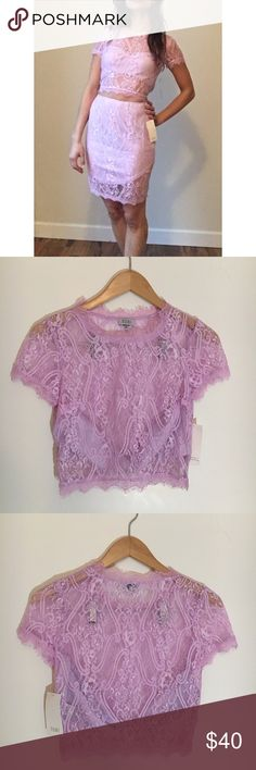 NWT Lace Two-Piece Dress - Lavender Lace Two-Piece Dress  - Lavender colored lace with purple stretchy slip. Shirt is backless. Zip closures for Skirt and top  - Size M    - New With Tags Tobi Dresses Mini