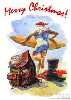 #акварель #артслед #дедмороз #серфинг #surfer #santa #artsled #watercolor