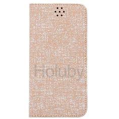 Automatische Absaugung Cloth Texture-Halter-Standplatz-TPU   PU-Leder Tasche für iPhone 6 Plus 6S Plus-Braun