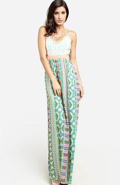 colorful cutout maxi dress