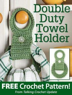 Another contender for kitchen towel related crochet pattern :) Description: Double Duty Towel Holder Crochet Towel Holders, Crochet Dish Towels, Crochet Towel Topper, Crochet Kitchen Towels, Crochet Potholders, Crochet Home, Crochet Gifts, Free Crochet, Knit Crochet